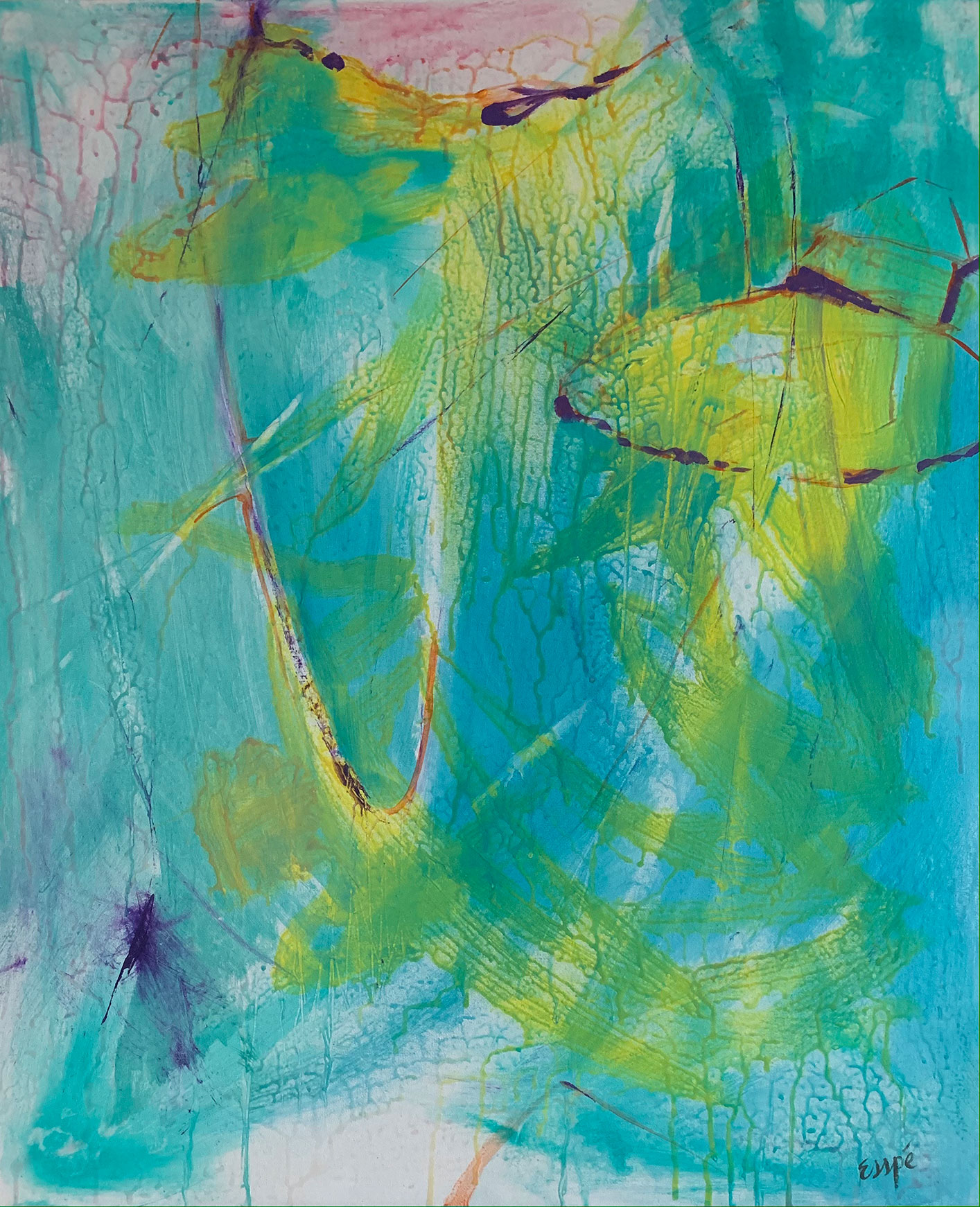Abstract painting in teal and yellow.